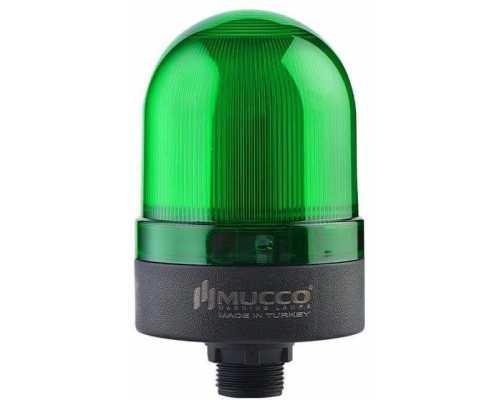 Сигнальный маячок с гайкой диаметром 22 мм, вращающийся с зуммером, 24V/DC, цвет Зеленый