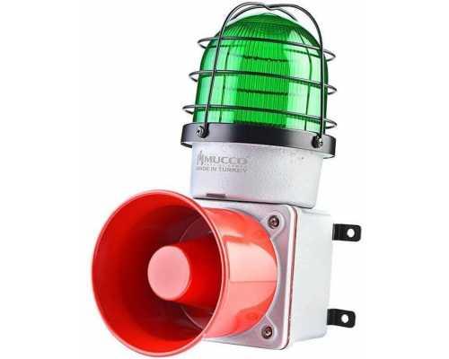 Промышленная светодиодная сирена, с литым корпусом и 7 мелодиями, 12-30V/DC, цвет зеленый
