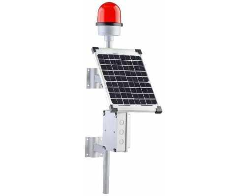 Заградительные огни настенного монтажа с солнечной панелью 20 Вт, цвет красный