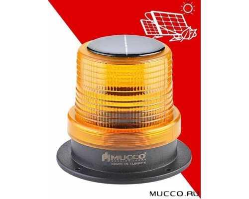 Сигнальный маячок с солнечной панелью, мигающий, цвет желтый