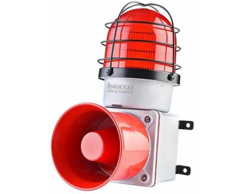Промышленная светодиодная сирена, с литым корпусом и 7 мелодиями, 12-30V/DC, цвет красный