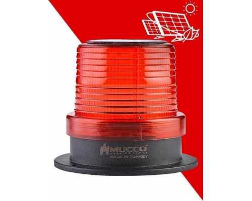 Сигнальный маячок с солнечной панелью, мигающий, цвет красный