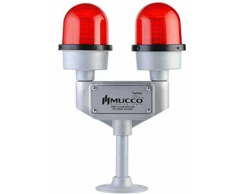 Заградительный огонь сдвоенный (авиационная сигнальная лампа), двуручная, 85-260V AC/DC, цвет красный