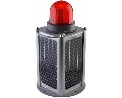 Заградительные огни с напольным креплением и солнечной панелью 20 Вт, цвет красный