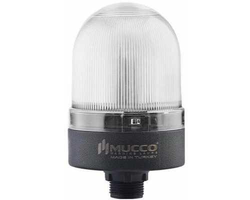 Сигнальный маячок с гайкой диаметром 22 мм, вращающийся с зуммером, 24V/DC, цвет Белый