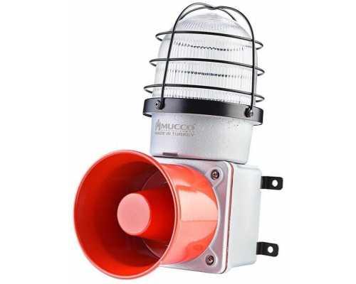 Промышленная светодиодная сирена, с литым корпусом и 7 мелодиями, 12-30V/DC, цвет белый