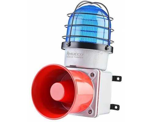 Промышленная светодиодная сирена, с литым корпусом и 7 мелодиями, 12-30V/DC, цвет синий