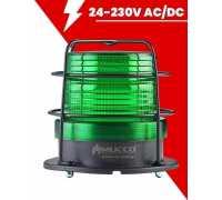 Сигнальный маячок Макси-Вольт, стробоскопический с зуммером, 24-90V/DC - 24-60V/AC, цвет зеленый