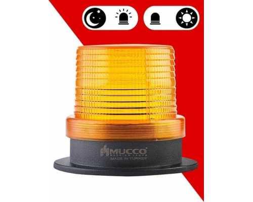 Сигнальный маячок с сенсорным датчиком, 12 Вт с солнечной панелью, цвет желтый