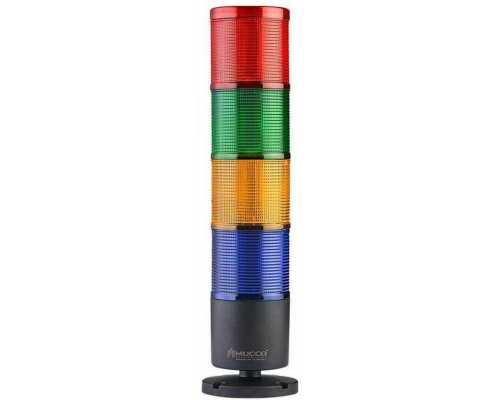 Четырехслойная светосигнальная колонна, вращающаяся с зуммером, 12-24VAC/DC, цвет Желтый