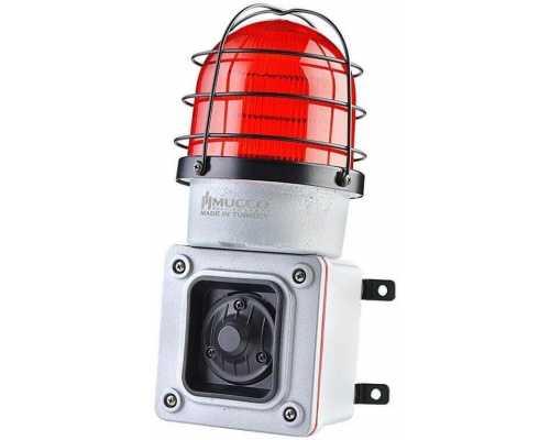 Светосигнальный гудок с литым корпусом и 7 мелодиями, стробоскопический 120 дБ с литым корпусом и 7 мелодиями, 85-260V AC/DC, цвет Красный