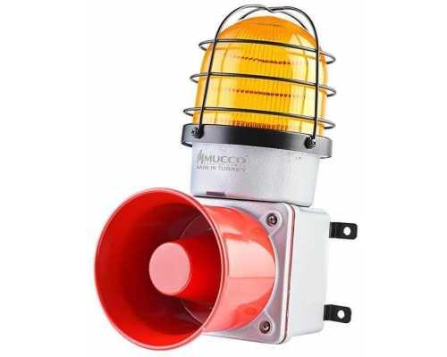 Промышленная светодиодная сирена, с литым корпусом и 7 мелодиями, 12-30V/DC, цвет желтый