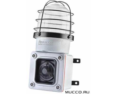 Светосигнальный гудок (сирена) с литым корпусом и 8 мелодиями, стробоскопический 133 дБ, 12-48V/DC, цвет белый